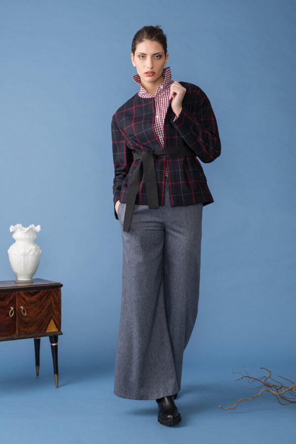 giacca scozzese in lana riciclata con cintura