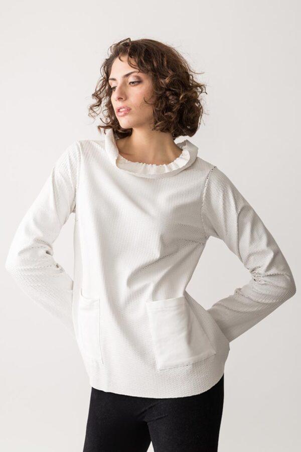 abito con tessuto laserato con tasche in cotone