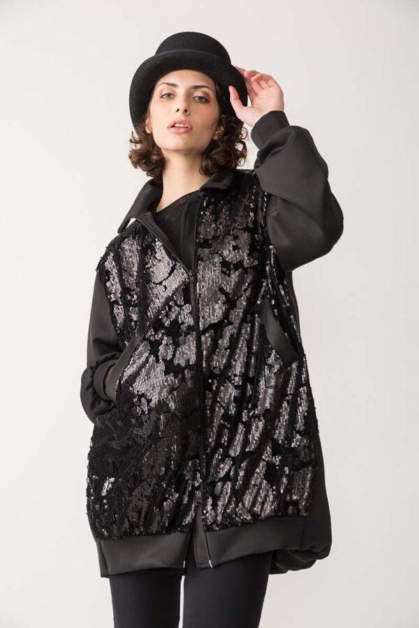 bomber donna con paillettes tessuto tecnico