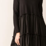 abito invernale donna nero a balze giotta