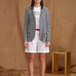 """giacca destrutturata in jersey che parte della serie """"righe GIO.tta"""", caratteristica che contraddistingue da sempre le linee del brand."""