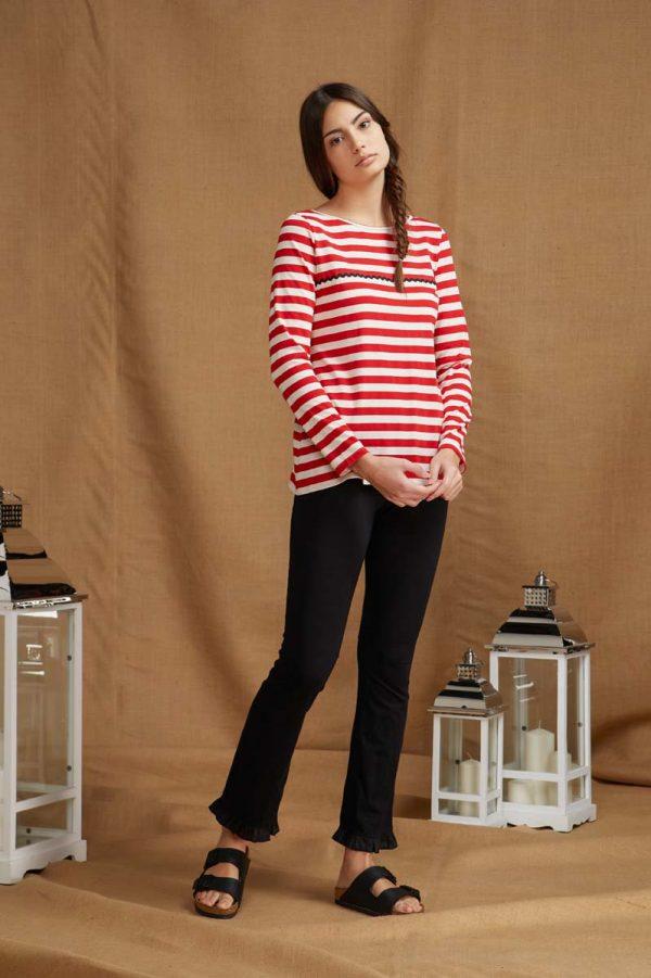 maglia a righe realizzata in jersey di cotone dalla linea dritta